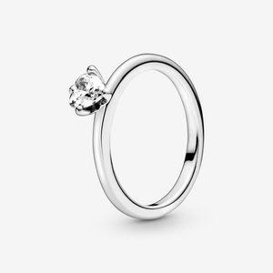🔥PANDORA Clear Heart Solitaire Ring